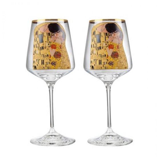Декантер с чаши за вино Целувката на Густав Климт RCR Italy DG040