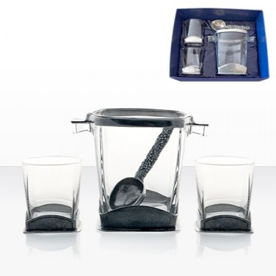 Комплект за уиски от 2 кристални чаши и ледиера Freitas & Dores AWS115