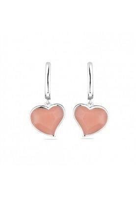 Розови обеци сърце от сребро
