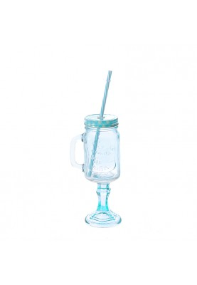 Стъклен буркан със сламка и дръжка в 3 цвята