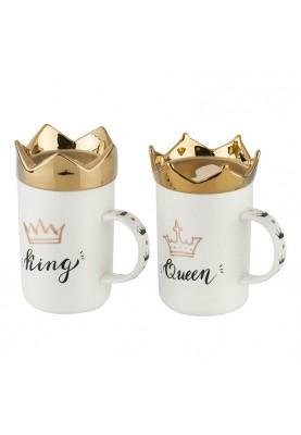 Уникални чаши: Комплект King & Queen със златни корони