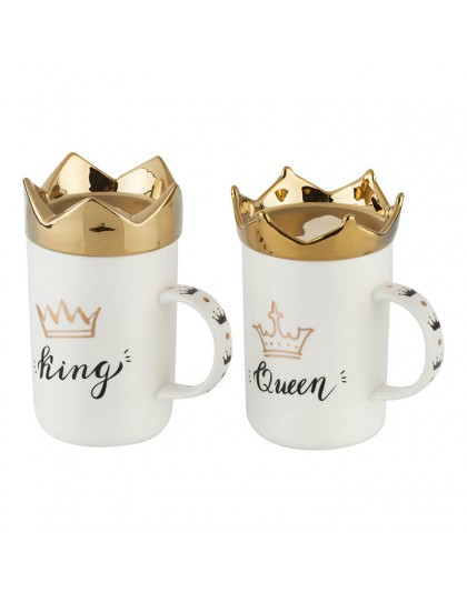 Unique glasses: King & Queen set with gold crowns