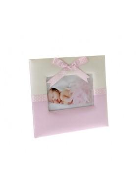 Рамка за снимка в розов цвят с панделка