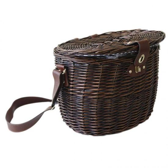 Класическа кошница за пикник за двама от дърво и кожа