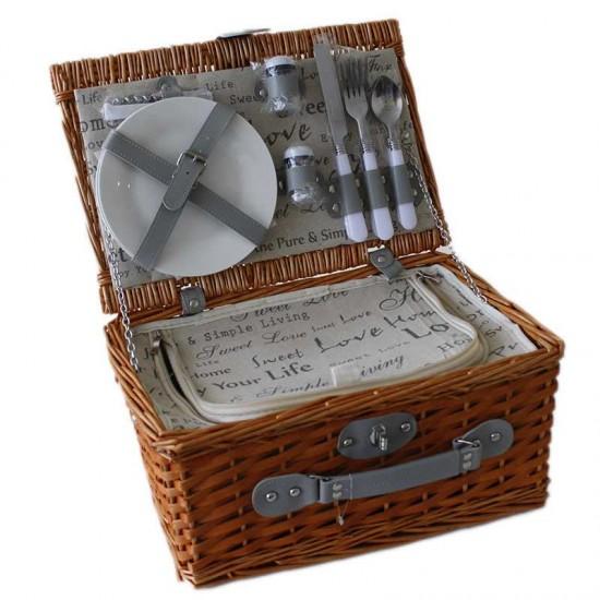 Дървена кошница за пикник за двама 86026198