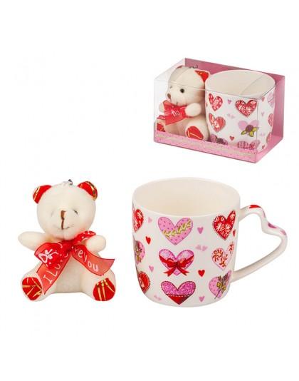 Комплект за подарък за Свети Валентин - Плюшено мече и чаша