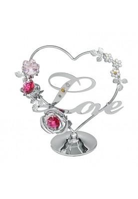 Миниатюра Love - Сърце и цветя сребро Crystocraft RY087