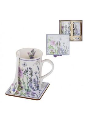 Изискан сет чаша за кафе и чай с лъжичка и подложка с дизайн лавандула
