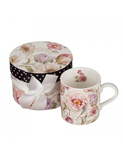Елегантна чаша за кафе и чай за подарък с декорация рози
