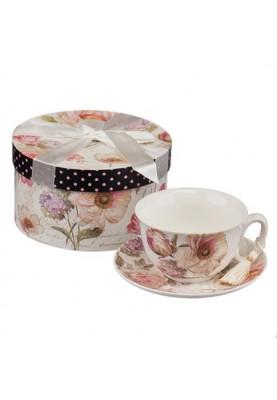 Комплект чаша за кафе и чинийка с красива декорация