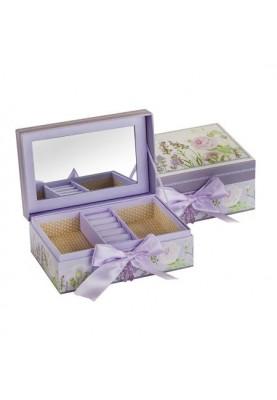 Кутия за бижута с декорация лавандула и огледало