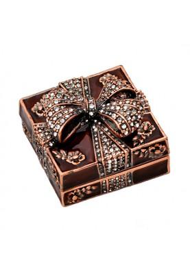 Кутия за бижута с панделка в кафяв цвят