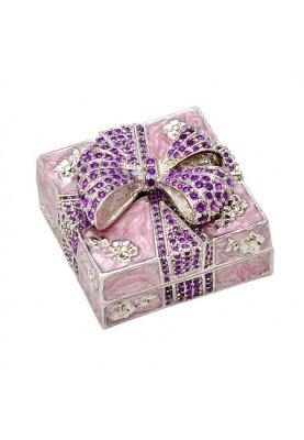 Розова кутия за бижута с панделка за подарък на жена