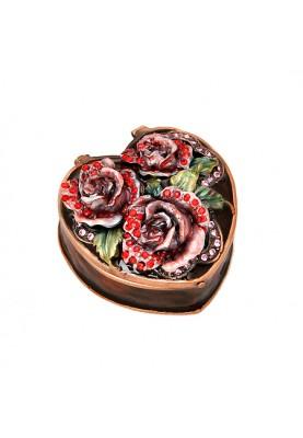 Кутия за бижута във форма на сърце с рози в кафяв цвят
