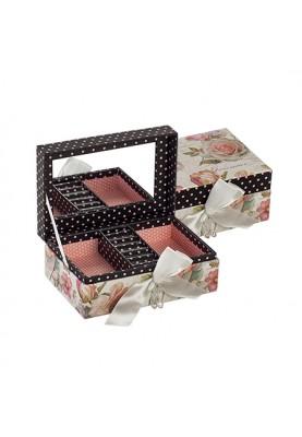 Кутия за бижута с огледало, декорация и панделка