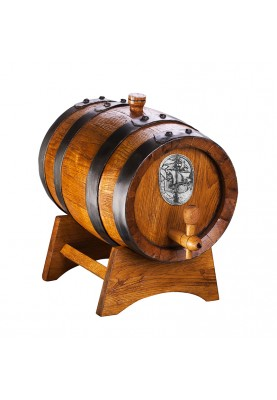 Дървена бъчва за подарък с кораб