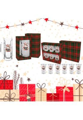 Комплект за подарък на мъж за Коледа и Нова Година Халба + Шотове