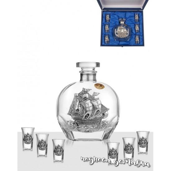Комплект бутилка с кораб и 6 чаши Freitas & Dores F32004