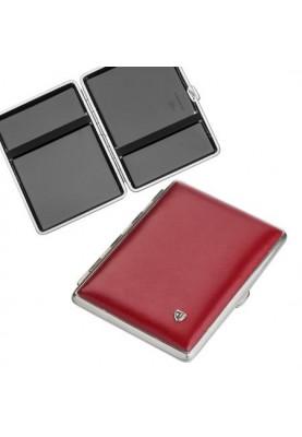 Луксозна табакера за SLIM цигари от естествена кожа в червен цвят