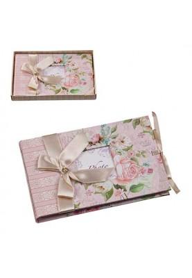 Луксозен албум за снимки с декорация рози и панделка