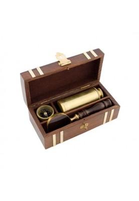 Луксозен подарък за мъж - Комплект лупа, компас и далекоглед