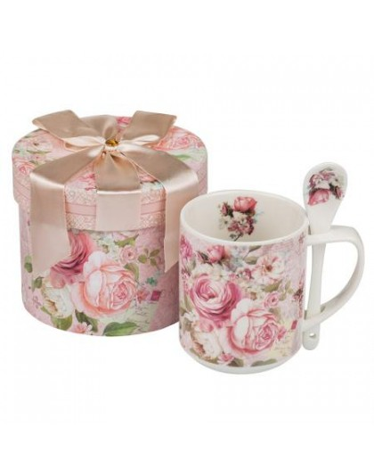 Луксозен комплект чаша за кафе с лъжичка и декорация